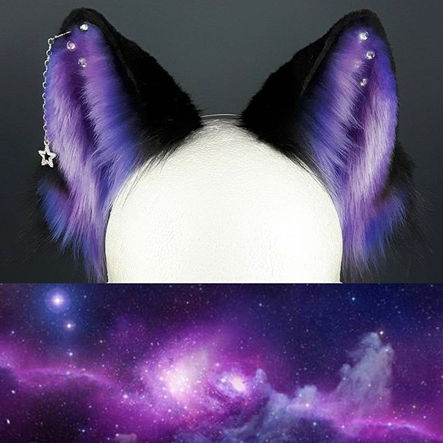 WEBSTA @ ateliercreatura -  Purplish galaxy fox ears. Another pair of ears I was able to create before I've started having trouble with my air compressor. I hope to find a solution soon ... That pair will be available in the coming release (date tba). They are wired and slide along the headband.  #ateliercreatura #fox #foxears #foxgear #galaxy #galaxyears #petplay #petplaygear #petplayears #kittenplay #kitsune #kitsuneears #wolf #cosplay #costume #purple