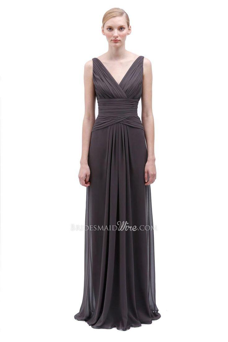 charcoal sleeveless v-neck chiffon floor length bridesmaid dress