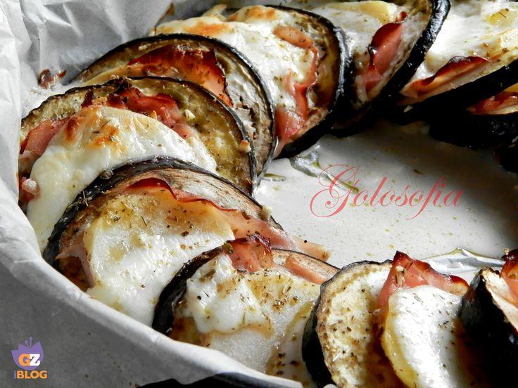 Melanzane al forno con patate e mozzarella-ricetta secondi-golosofia