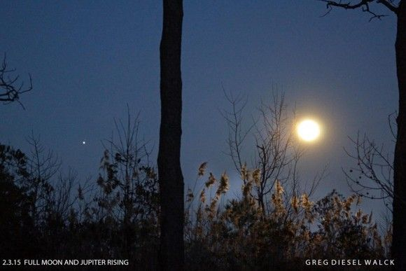 Here's the lovely Wolf Moon rising with Jupiter nearby. Currituck, NC. Thx for photo to Greg Diesel Landscape Photography.