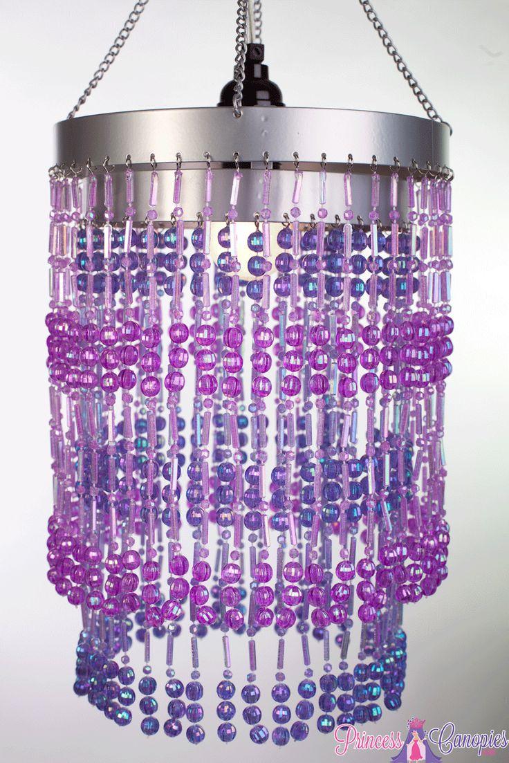 Purple Hanging Beaded Lamp Sparkly Purple Chandelier