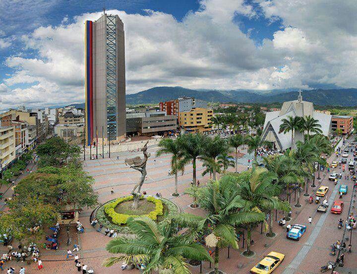City central Plaza of Armenia, Quindio, Colombia.