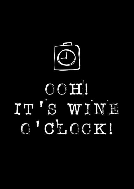 Kaartje Ooh! It's wine o'clock! Ontwerp: byBean. Je shopt 'm hier: http://www.bybean.nl/kaartjeoohitswineoclock