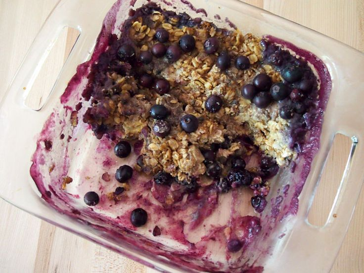 Blueberry Rhubarb Baked Oatmeal - this recipe is gluten free and vegan