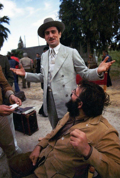 Robert De Niro & Francis Ford Coppola on the set of The Godfather Part II