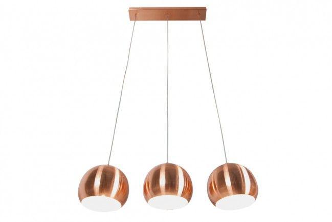 3er Design Hängeleuchte COPPER BALL Kupfer 20cm höhenverstellbar