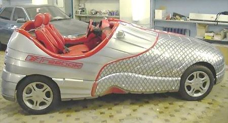 This creative shoe car is perfect for the fans of Reebok sneakers.