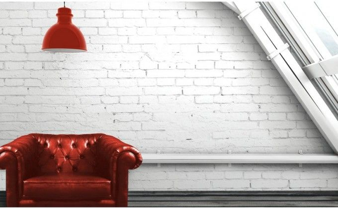 Faux Brick Wall Panels' Decorating Instruction With A Decor That Has A Red Sofa