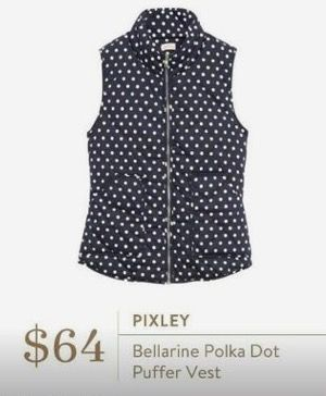 Stitch Fix Fashion 2017! Ask your stylist for something like this in your next fix, delivered right to your door! #sponsored #StitchFix  Pixley Bellarine Polka Dot Puffer Vest navy & white