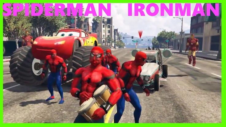 MONSTER Lightning Mcqueen with Spiderman & Ironman Cartoon for Kids Nurs...