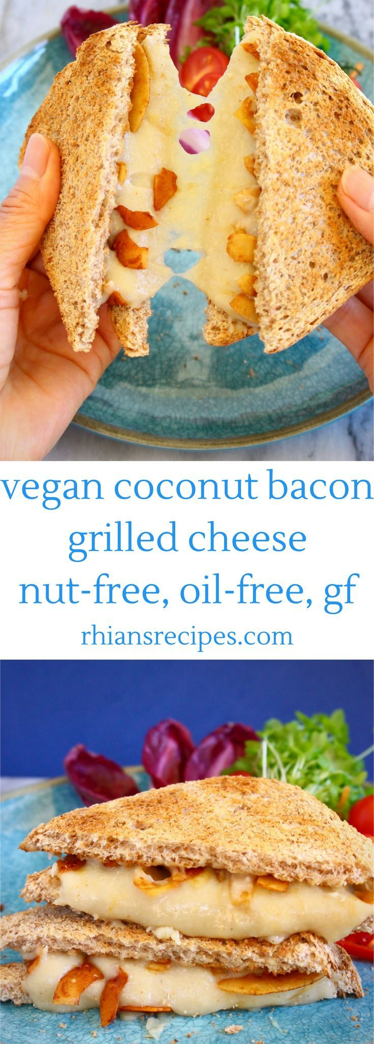 VEGAN Stretchy Melty Grilled Cheese loaded with crispy, flavourful Coconut Bacon! Completely natural, oil-free, nut-free, gluten-free. Made using mochi!