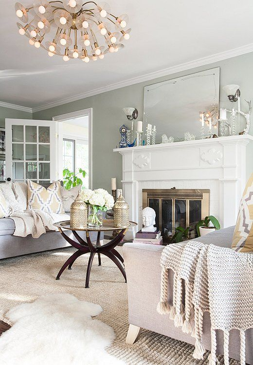 We re currently loving sage green rooms cream living - Sage green living room ...