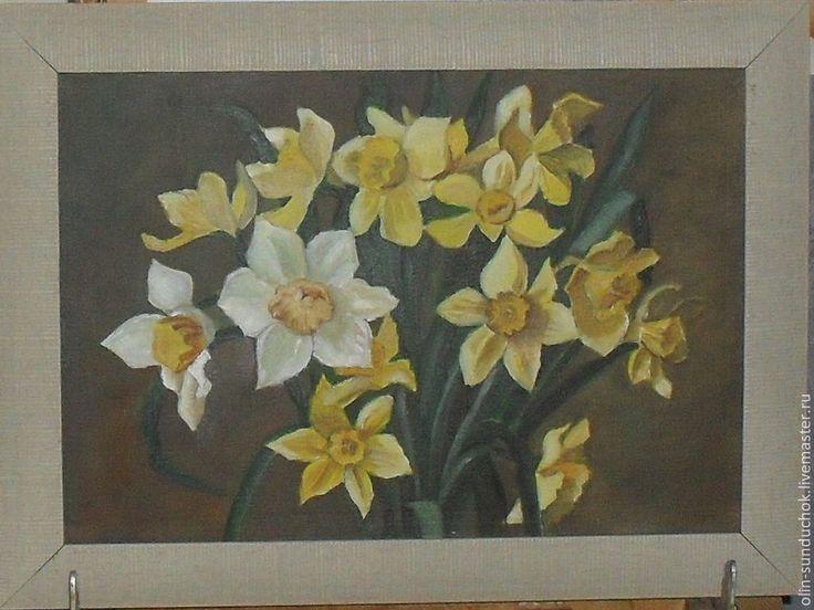 Нарциссы.Масло. - желтый,нарциссы,букет цветов,масляная живопись,натюрморт с цветами