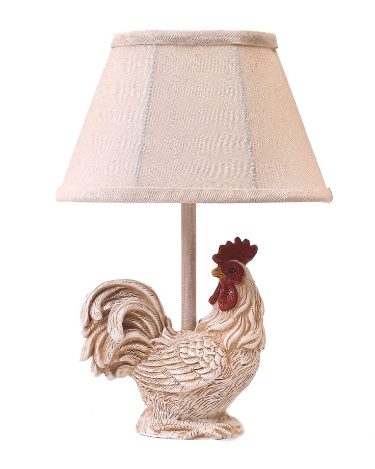 Perfect For A Kitchen This Farmhouse Rooster Themed Table Lamp Is Topped With Linen Shade