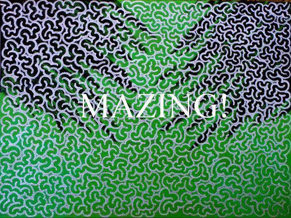Maze Art  Art You Can Follow on 9x12 by TwistedFingerDesigns