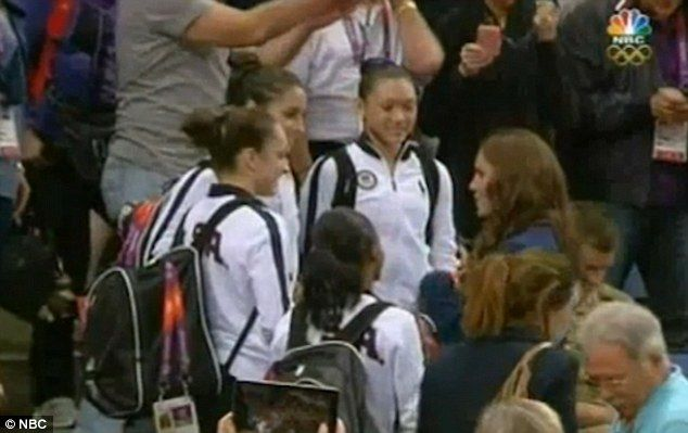 In other news, members of the U.S. women's gymnastics team were stunned when they were paid a visit by the Duchess at the O2 arena on Sunday. Aly Raisman, Kyla Ross, Gabby Douglas and Jordyn Wieber have become hugely popular and their talent and determination did not go unnoticed by Kate who wanted to congratulate them on their success.