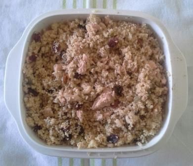 Lunch today - Turkish Salmon Couscous 200g couscous, 1 cup boiling water, 1tbsp canola margarine (melted), 1tbsp YIAH Baharat Spice Blend, 100g Oh So Natural Seeds & Sultanas, 130g Salmon in Springwater (drained).   Stir boiling water into couscous, and allow to absorb water. Gently fork couscous to separate. Stir together margarine and spice blend, then combine with couscous. Stir well then add the rest of the ingredients. Serve and enjoy!