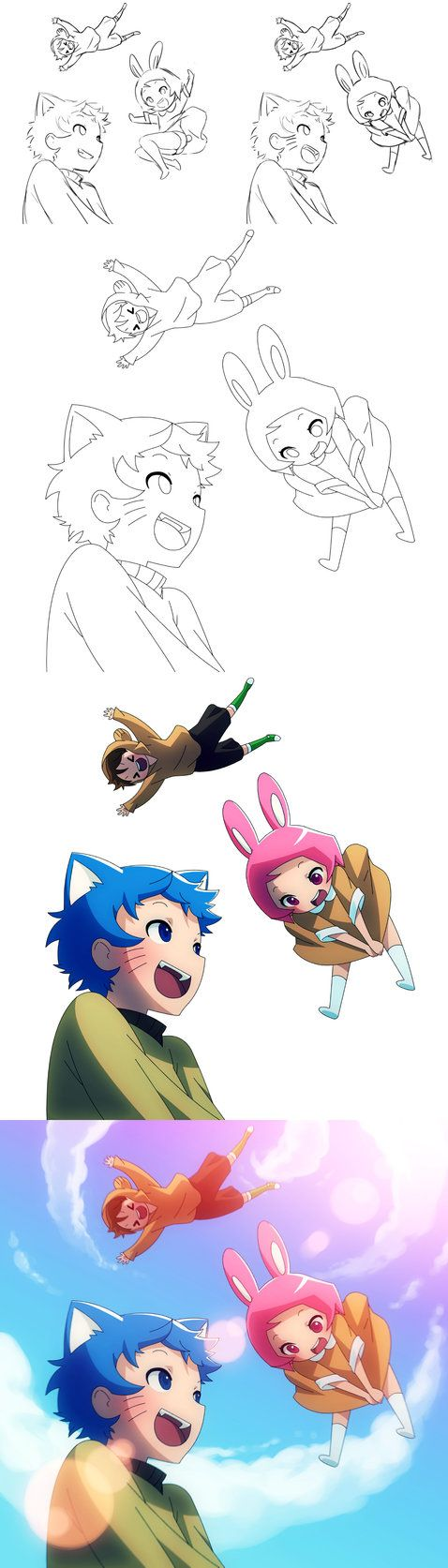 Flying cat, bunny, and fish by Mikeinel on DeviantArt