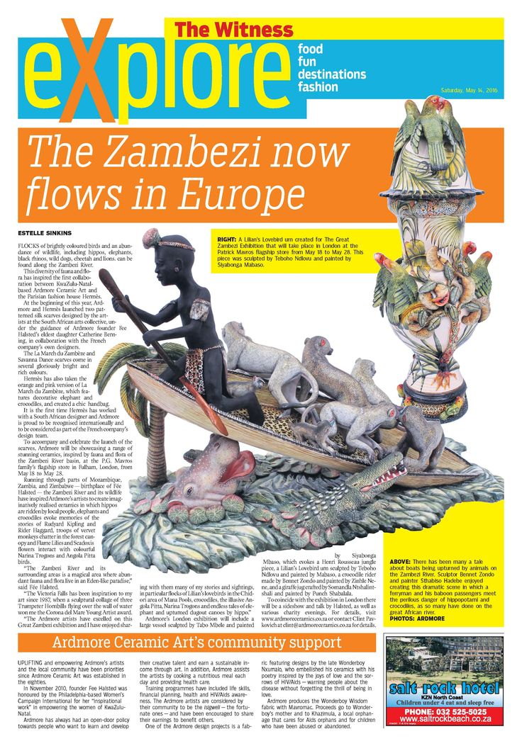 """Thank you Estelle Sinkins for this lovely article in the The Witness. All are welcome to come and join us at Patrick Mavros, 104-106 Fulham Rd, to view our incredible, """"The Great Zambezi"""" Exhibition from 18th - 29th  May. Fée will be presenting a slideshow to showcase the inspiration behind the theme of the Hermes scarves and our latest 2016 collection at 11:30 on Friday 20th and Saturday 21st of May."""