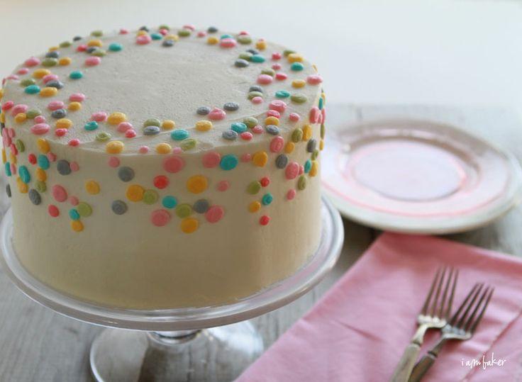 polka dot buttercream cake.  Cute simple smash cake idea
