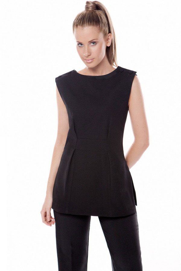 SPA 22 tunic - Black.  Sleeveless, with fabric covered buttons on shoulders. Band through the front waistband to create more shape, side splits. Zips at rear. Easy wash and wear corporate grade fabric. Available in black or white Sizes 6-24, true to size.