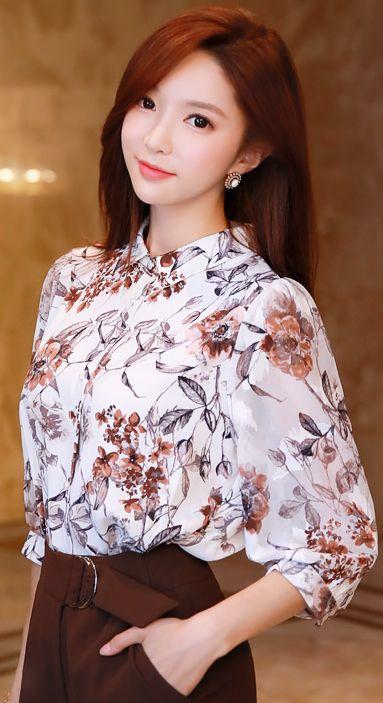 StyleOnme_Floral Print Quarter Sleeve Collared Blouse #floral #blouse #elegant #workwear #koreanfashion #kstyle #kfashion #seoul #feminine
