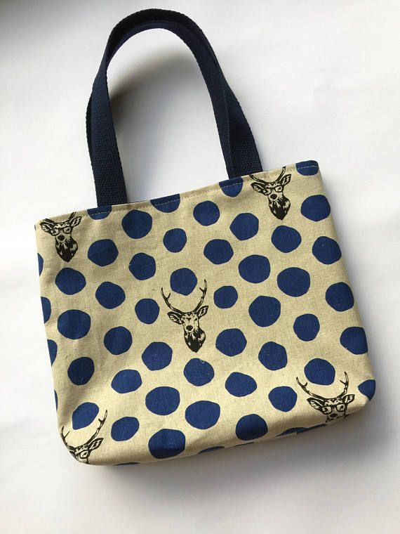 9c01999bc72d Kokka Echino Fabric small tote bag - stag with glasses. Japanese Fabric tote