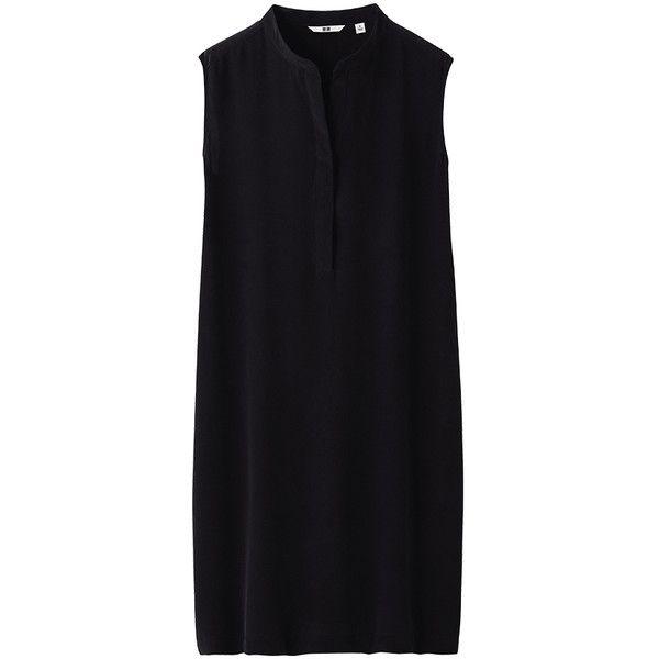 UNIQLO Women Silk Sleeveless Dress ($30) ❤ liked on Polyvore featuring dresses, robe, tops, black, sleeveless sheath dress, uniqlo, sheath cocktail dress, silk dress and sheath dress