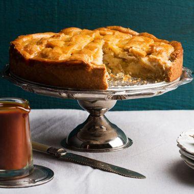 Apple Crostata with Spiced Caramel Sauce Recipe  | Epicurious.com