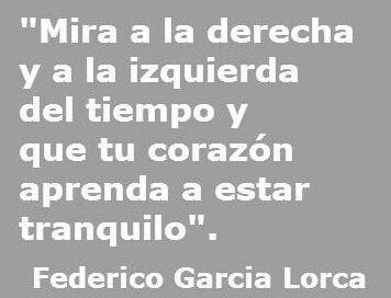 """""""Look to the right and to the left of time, and may your heart learn to be still."""" - Federico García Lorca"""