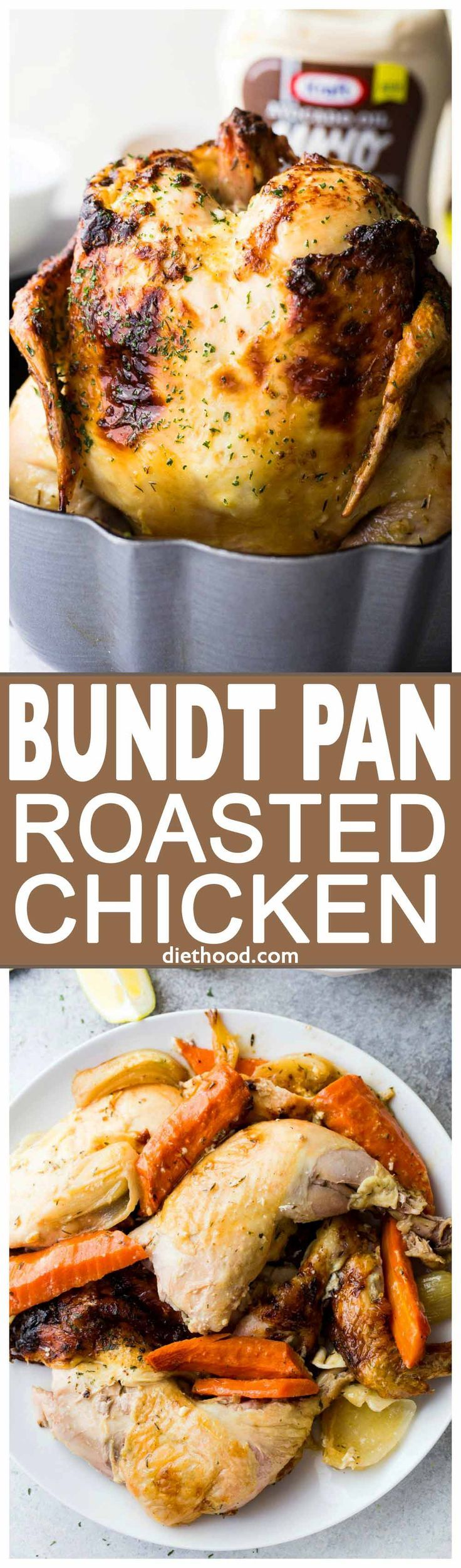 Bundt Pan Roasted Chicken - Super moist and incredibly flavorful bundt pan roasted chicken prepared with avocado-oil mayonnaise, herbs, and lemons!