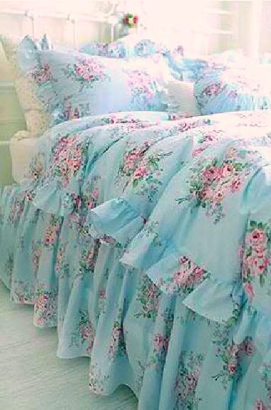 Shabby Cottage Chic Layers Of Dreamy Aqua Teal Ruffles