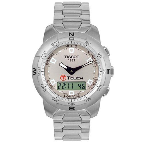 Tissot Men's T33158871 T-Touch Stainless Steel Watch Tissot. $725.00. Touch-screen technology with 8 separate functions:  Altimeter, Chrono, Compass, Alarm, Thermometer, Barometer (Meteo), and Date and Time. Precise Swiss-Quartz movement. Water-resistant to 99 feet (30 M). Easy to use - Activate by pressing on the crown and the touch-screen. Case Diameter - 43 mm; Crystal - Tactile Scratch-Resistant Sapphire