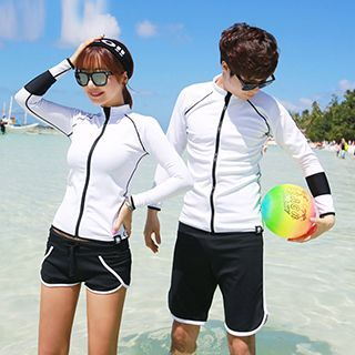 Sunset Hours - Couple Matching Rashguard / Swim Shorts