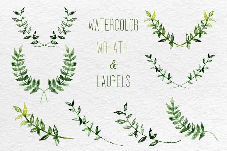 Watercolor set of laurel, wreath and leaves clip art