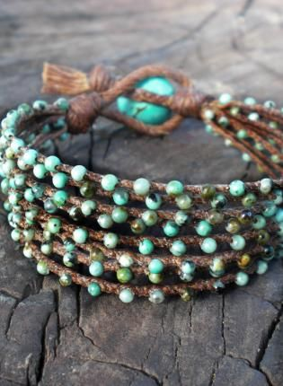 Turquoise braidied bracelet, Jewelry, turquoise beads 2 mm brown linen, Bohemian (Boho) / Hippie