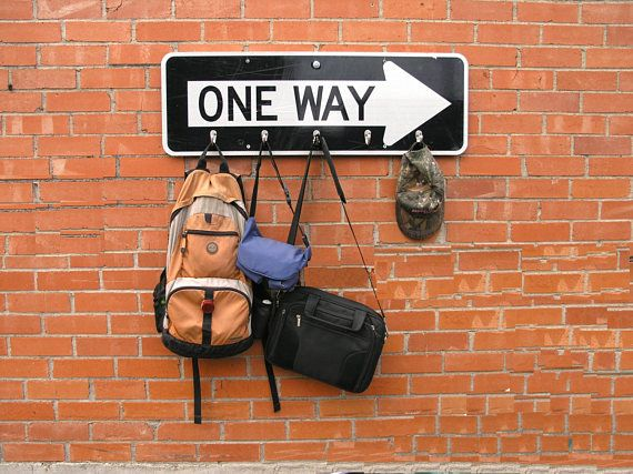 One Way Sign Unique Coat Rack Backpack Hanger Hat Hook Urban #oneway  #upcycled #