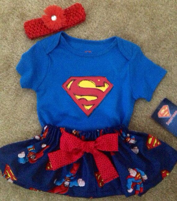 Super Hero superman outfit baby girl skirt Dress up Set with hair maribo Bow headband Size 3-6 months