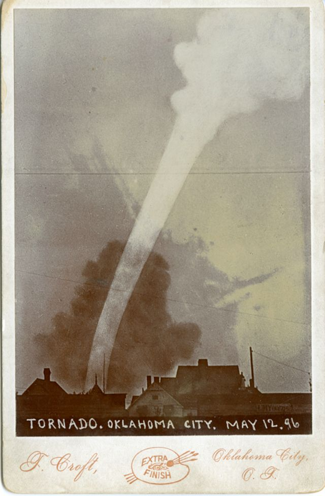 The McFarlin Library at the University of Tulsa (TU) in Oklahoma recently acquired a photograph of a tornado that hit Oklahoma City on May 12, 1896. Taken by Thomas Croft, who also documented the reservation life of the pre-statehood Oklahoma and Indian territories, it's one of 24 cabinet cards acquired by TU from the collection of Esther Hoyt.