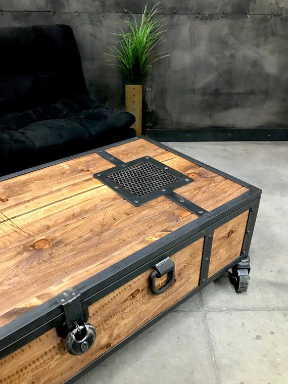 Rusticwood Coffee Table With Wheels And Handleswood Trunk