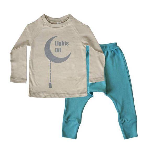b73b06bc7460 Kids Pajamas - Turquoise And Mocha with Moon Print