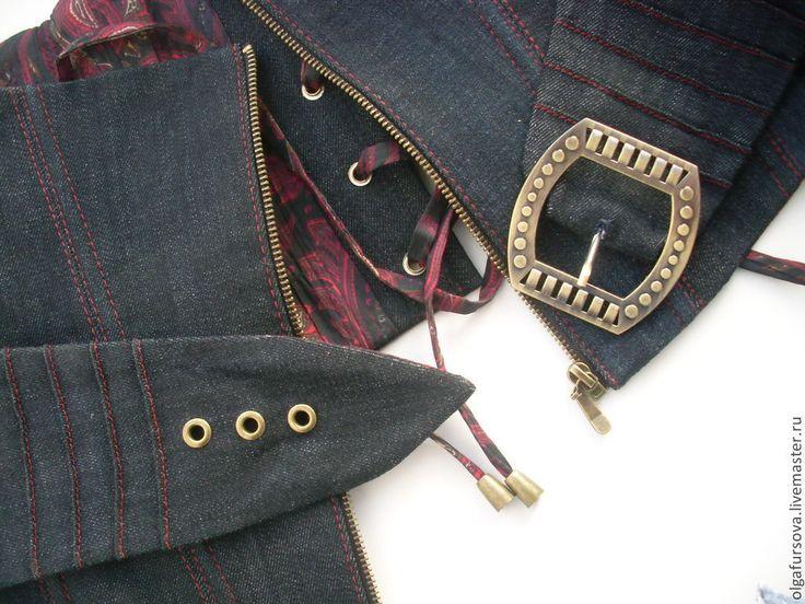 Купить Джинсовый корсетный пояс - тёмно-синий, джинсовый стиль, пояс, корсетный пояс, аксессуары