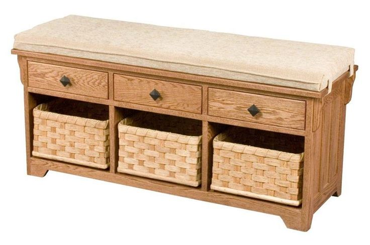 Amish Lattice Weave Storage Bench with Drawers and Baskets Give your foyer a boost with a cushy seat, baskets and drawers to hold everything from car keys to the dog's leash in the Lattice Weave Storage Bench.
