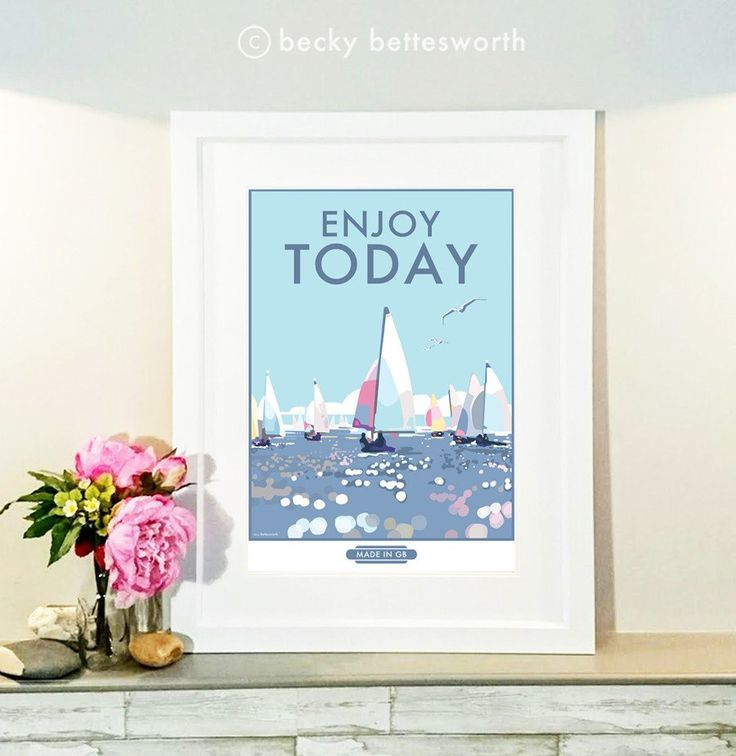 Enjoy Today vintage style, retro quote poster and print by Becky Bettesworth - BeckyBettesworth - 2