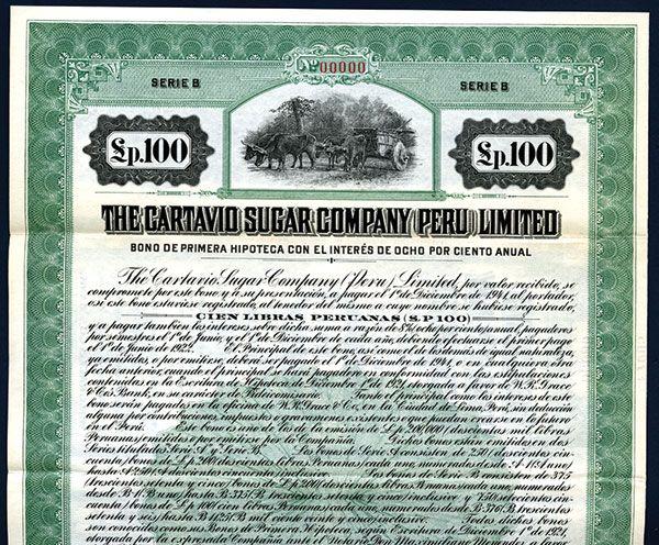 Lot 427 - Cartavio Sugar Company (Peru) Ltd. Specimen Bond.Peru, 1921, 100 Peruanas, 8% Specimen Bond, Black / green / AZPPE0001