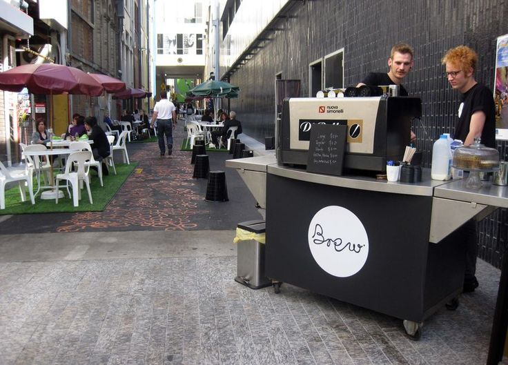Temporary coffee cart rounds out casual seating and cheap but cheerful street fit out