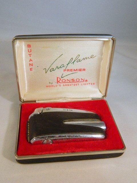 Ronson Varaflame Premier Vintage Leather Wrapped Lighter / Original Case Mid Century Ronson Lighter / Butane Lighter by VintageBaublesnBits on Etsy