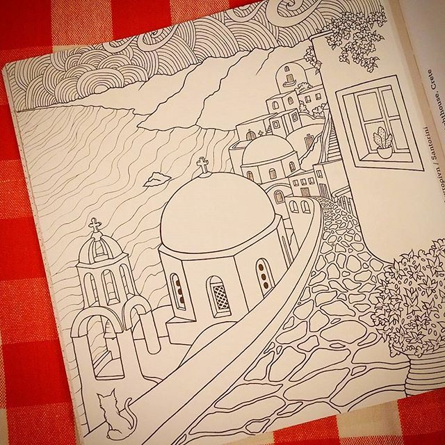 #santorini #colouringpage from my #colouringbook #greececolouringbook…