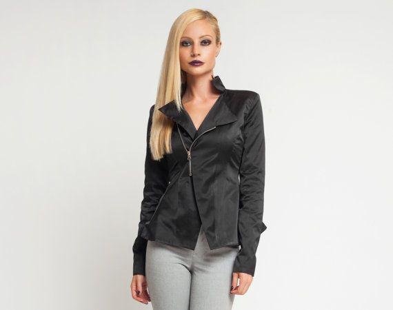 Negro chaqueta, chaqueta de más tamaño chaqueta, recortada chaqueta, chaqueta de otoño, moda chaqueta, chaqueta minimalista, chaqueta Steampunk