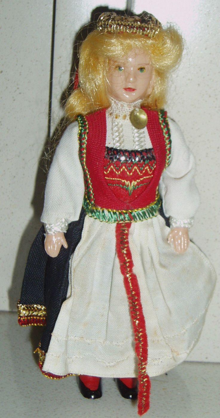 Vintage 1950s Small Hard Plastic Norwegian Costume Doll Hardanger Norway | eBay